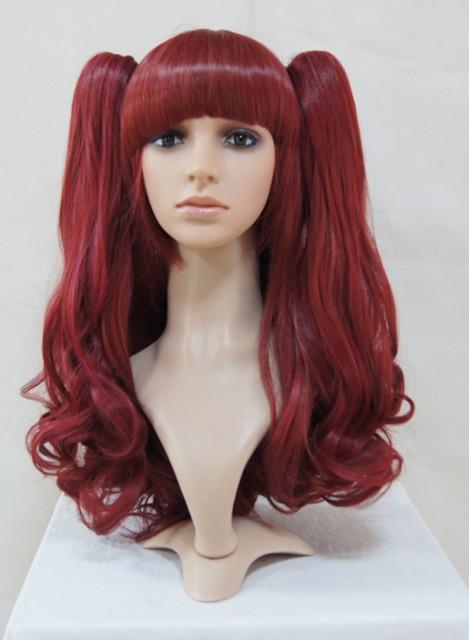 Wine Burgundy Shoulder Long Lolita Wig