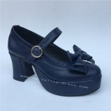 Navy Single Strap Bows Lolita Heels Tea Party Shoes