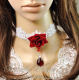 Red Rose Blossom in Moonlight White Lace Choker
