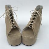 Beige Velvet Lolita Shoes With Shoeslace