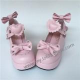 Sweet Glossy Pink Hearts bows High Platform Shoes