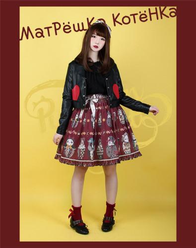 Mатрёшка Kотёнка~ Lolita Skirt -Ready Made