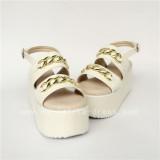 High Platform White Matte Lolta Sandals