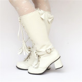Sweet Bows Straps Lolita Middle Shaft Boots