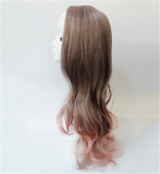 Gray Pink Wavy Cosplay Wig for Lady
