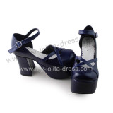 Navy Blue Matte Wedges Lolita Platform Shoes