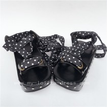 Unique Black Matte Punk Lolita Sandals