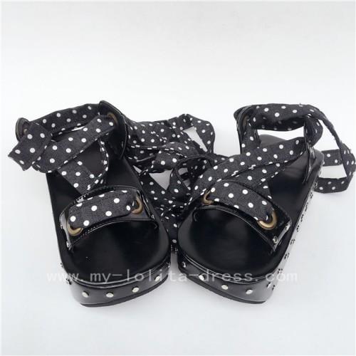 Unique Black Matte Punk Lolita Sandals
