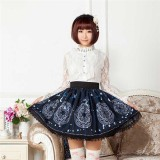 Sweet Blue Sun & Moon Magic Array Printed Lolita Pleated Skirt