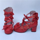 Sweet Wine Lolita Square Heels Shoes with Bowknots