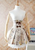 Strawberry Witch High Waist Fishbone Pleated Lolita Skirt