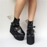 Gothic Matte Black Lolita High Platform with Wings