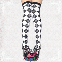 Mu Fish Rose Cross Argyle Above Knees Lolita Socks