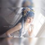 Sweet Big Wavy Daily Curls Gray Blue Lolita Wig 60cm