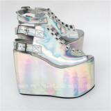 Beautiful Glitter Silver Lolita High Platform Shoes
