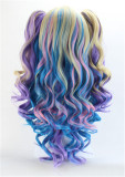 Girl's Sweet Colorful Lolita Long Curls Wig with Two Removable Ponytails