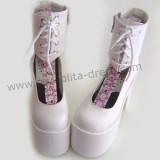 White Ankle High Lolita Platform Shoes