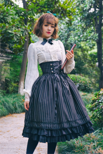 Dailywear Version Fish-bone Striped Lolita Skirt
