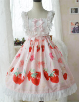 Doris Night Lolita ~Cherry Strawberry~ Sweet Lolita JSK -Special Price Beige JSK Size L - In Stock