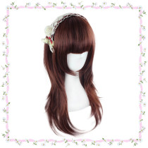 Sweet 55cm Long Red Brown Lolita Wig