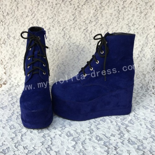 Sweet Royal Blue Velvet Lolita High Platform
