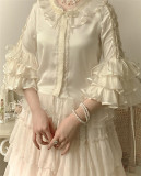 Cream Mille Crepes Vintage Lolita JSK(Long Version Available)