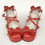 Sweet Cat's Ear Bows Matte Lolita Heels Shoes