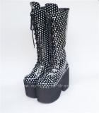 Beautiful White Matte Lace-up Knee Lolita High Boots