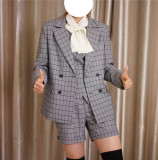 Stripe/Gingham/Unicolor Series -Ouji Lolita Full Set [--Coat + Vest + Short Pants --]