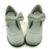 White Low Heel Bow Lolita Shoes