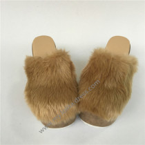 Light Camel Sqaure Heels Shoes with Furs