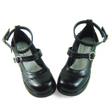 Black Straps Low Heel Lolita Shoes