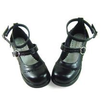 Black Straps Low Heel Lolita Shoes