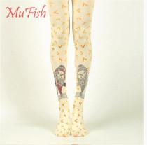 Heart Fish~ 120D Velvet  Lolita Printed Tights