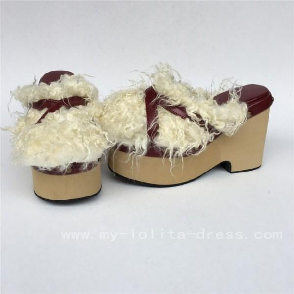 Sweet Claret Matte Lolita Sandals with Furs