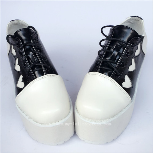 Sweet Black With White Hearts Lolita High Platform Shoes