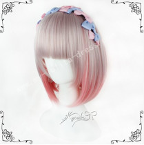 Cute Light Orange Grey Bobo Lolita Wig