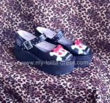 Gothic Punk Red Hearts Skull Black Lolita Shoes