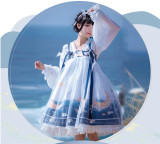 NyaNya Lolita Boutique ~Over the Sea the Moon Shines Bright Qi Lolita JSK -Ready Made