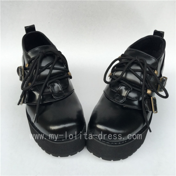 Gothic Black Matte Lolita High Platform Shoes