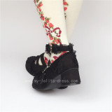 Black Sweet Lolita Square Heels Shoes with Bows