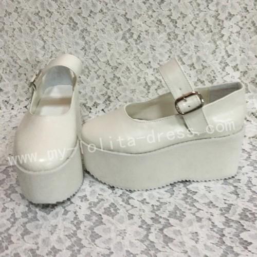 Girls Matte White Lolita High Platform Classic Shoes