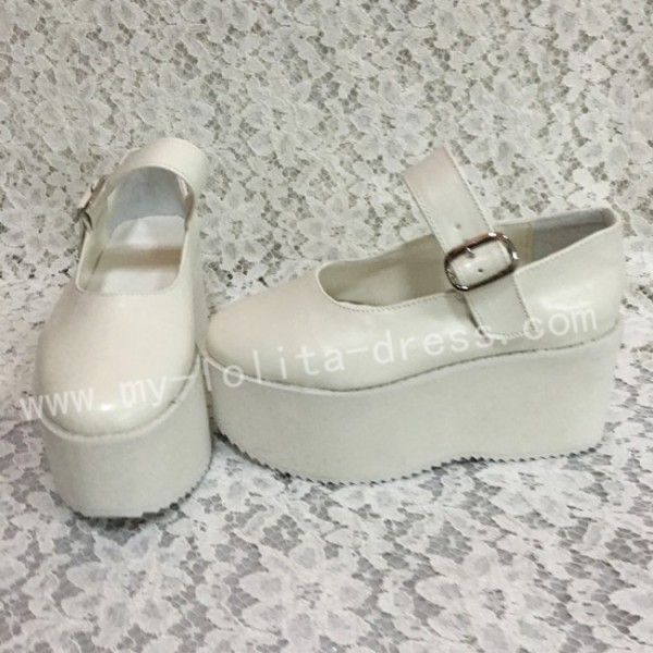 Girls Matte White Lolita High Platform Classic Shoes