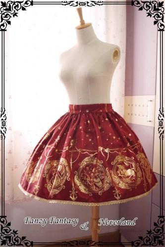 ***The Mermaids Singing*** Series Gold Stamping Normal Waist Lolita Skirt