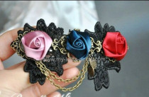 Black Lace Flowers Gothic Lolita Hairpin