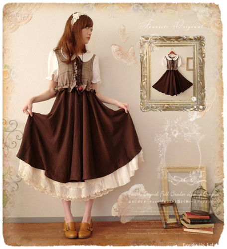 Sweet Petan Pan Collar Fake Two-pieces Vintage Dress