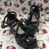 Sweet Glossy Black Lolita Heels Shoes with Bowknots