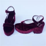 Beautiful Wine Pleuche Lolita Sandals