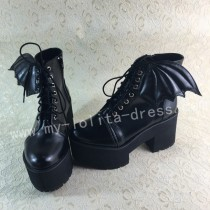 Sweet Matte Black Lolita Square Heels Shoes