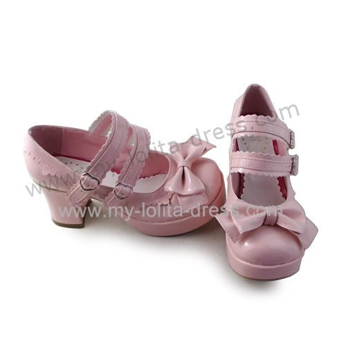 Double Straps Bow Glossy Pink Lolita Shoes